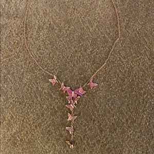 Swarovski lilia butterfly y necklace, pink crystal